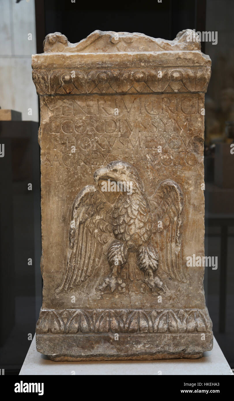 Roman altar dedicated to Venus. Marble. Late 2nd century. Augusta Emerita, today Merida, Badajoz. Spain. Stock Photo