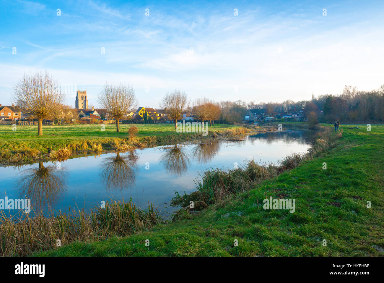 Suffolk landscape, view in winter of the River Stour passing through the water meadows near Sudbury town in Suffolk, - Stock Image