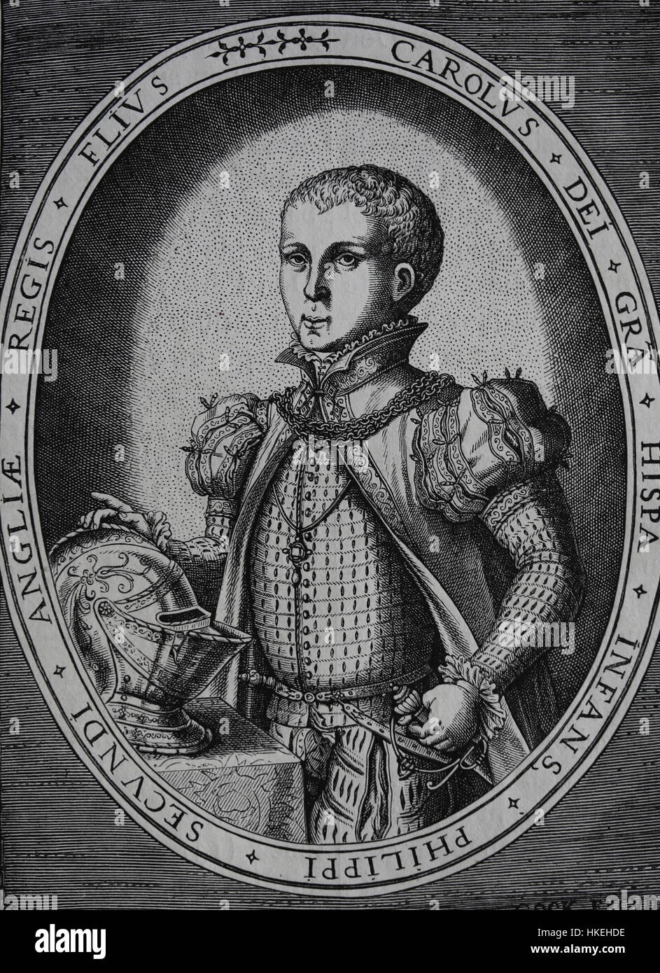 Carlos, Prince of Austria (1545-1568). Son of King Philip II of Spain. Portrait. Engraving by H. Goks. - Stock Image