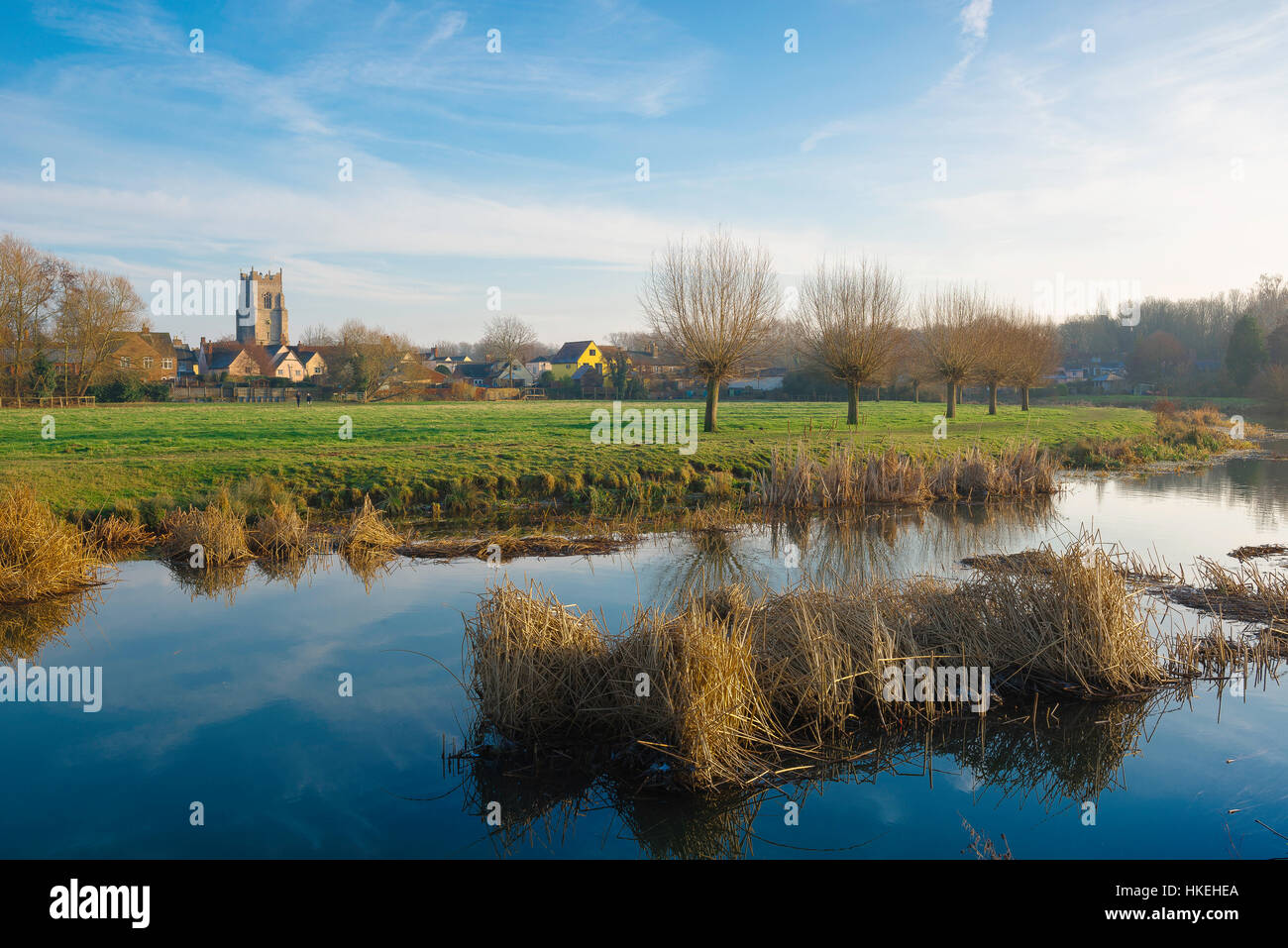 Sudbury Suffolk, winter view of the River Stour passing through the water meadows along the southern edge of the - Stock Image