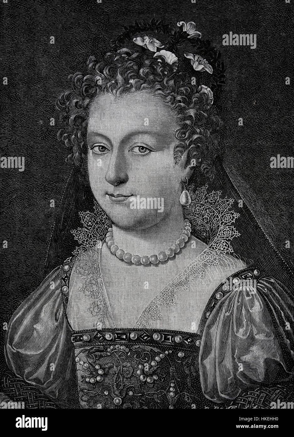 Elizabeth I of England (1533-1603). Queen  of England and Ireland. Tudor dynasty. Engraving, 19th century. - Stock Image