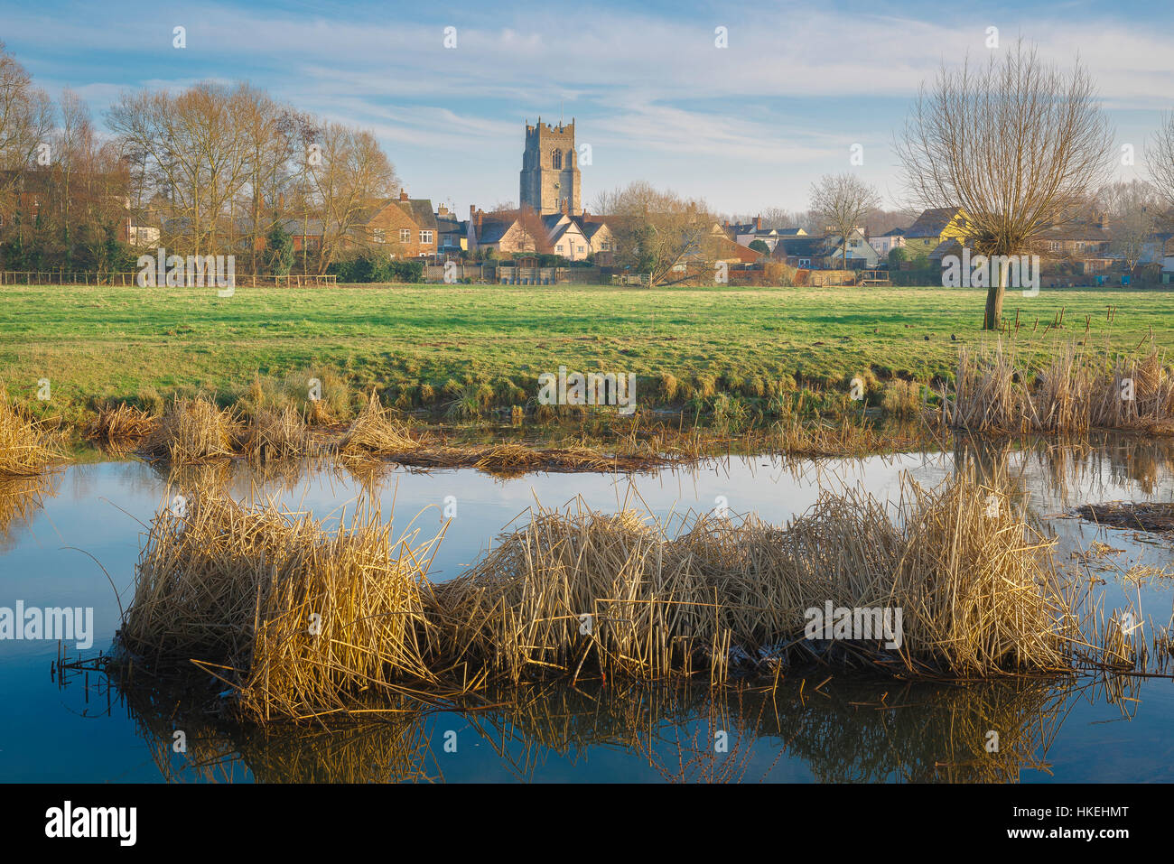 Sudbury Suffolk, view of the town of Sudbury in Suffolk with the River Stour in the foreground, Babergh district, - Stock Image