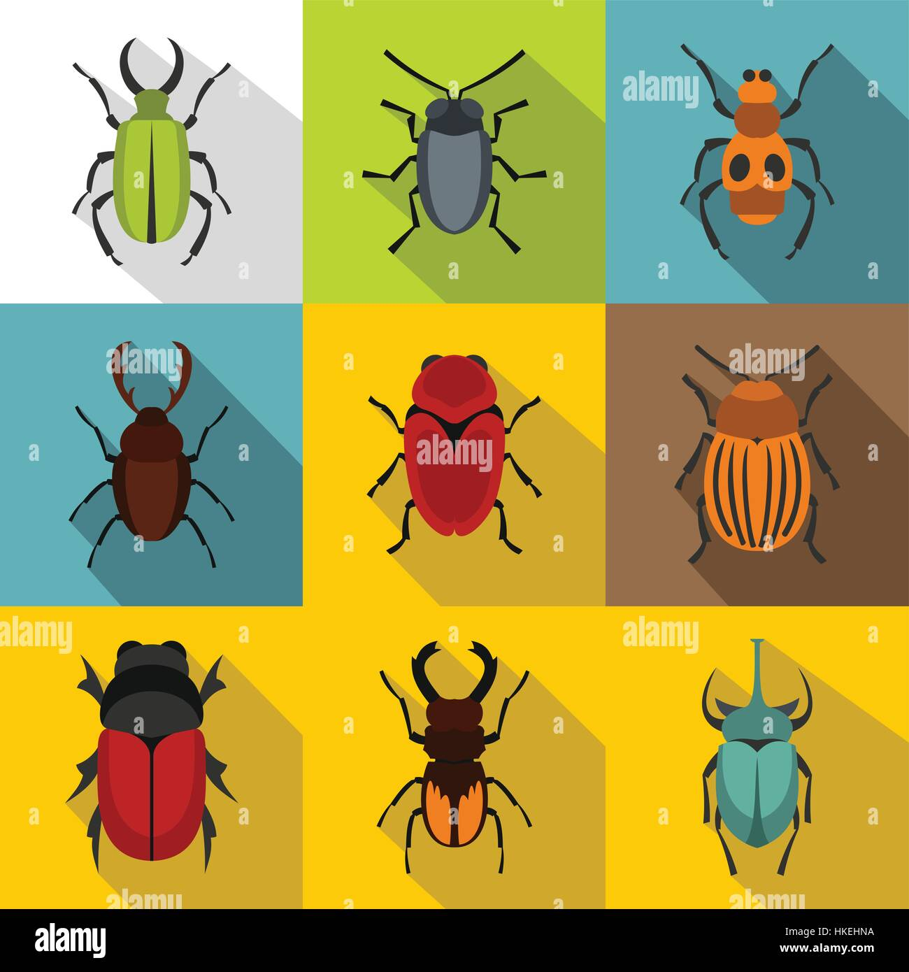 Bugs icons set. Flat illustration of 9 bugs vector icons for web - Stock Vector