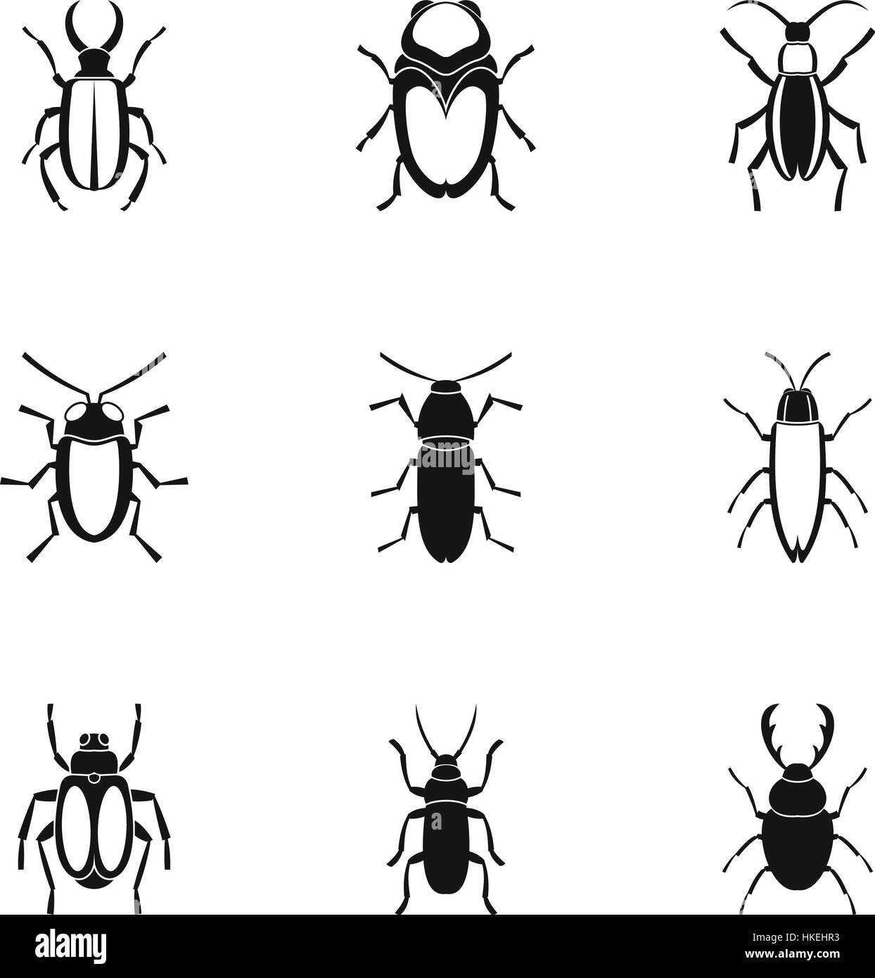 Crawling beetles icons set. Simple illustration of 9 crawling beetles vector icons for web - Stock Vector