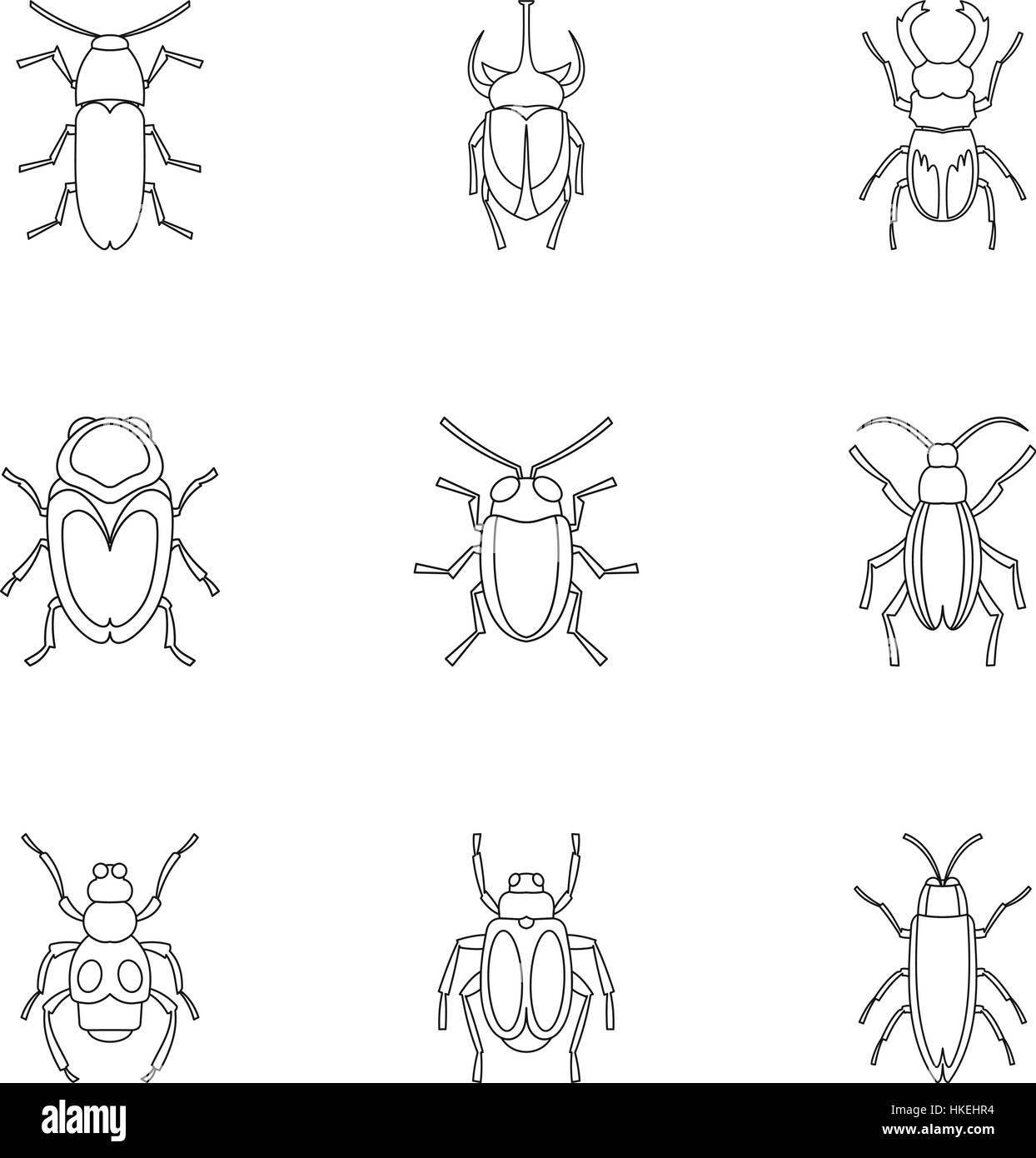 Bugs icons set. Outline illustration of 9 bugs vector icons for web - Stock Vector