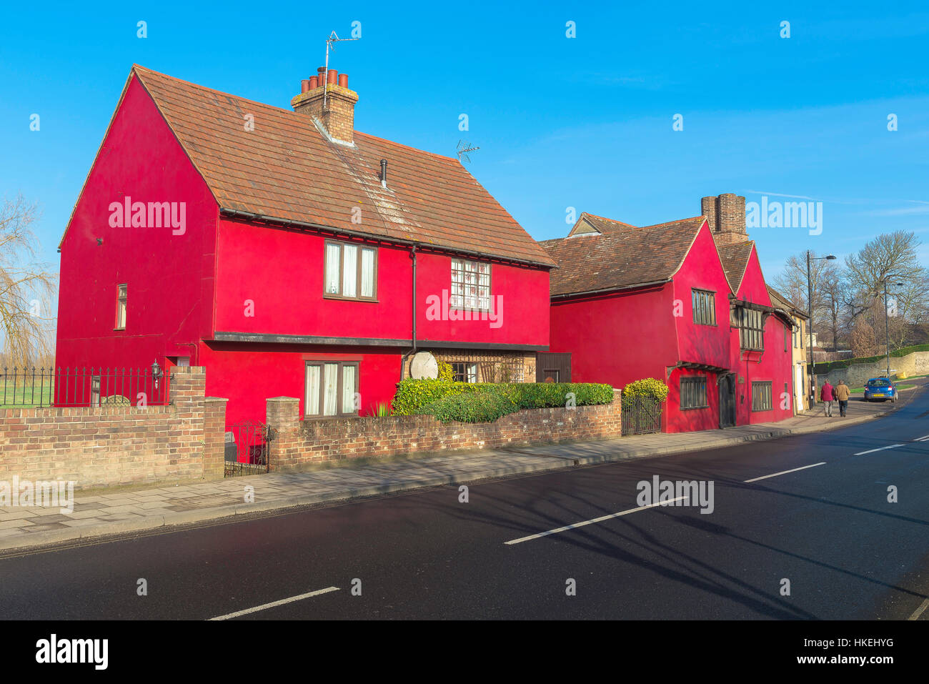 A medieval town house painted red in Sudbury Suffolk, UK. - Stock Image