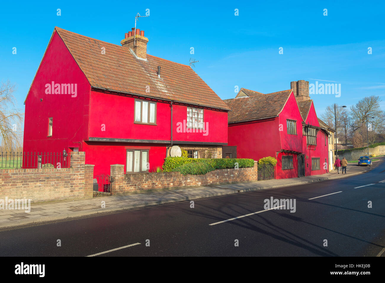 A colourful medieval town house in Cross Street Sudbury, Suffolk, Babergh district, UK - Stock Image