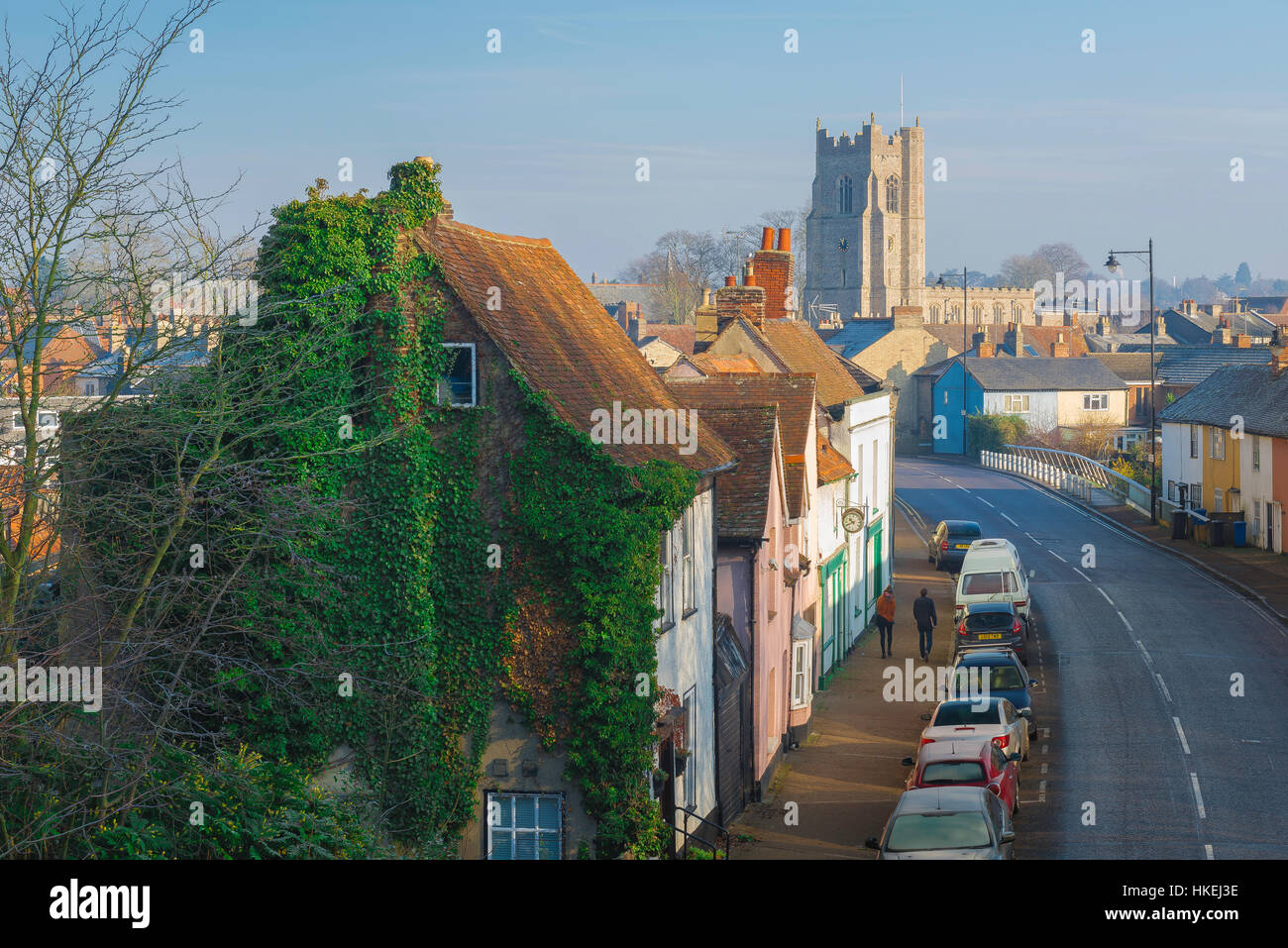 Sudbury Suffolk, a view of Ballingdon Road in the Suffolk town of Sudbury with the tower of All Saints Church on - Stock Image