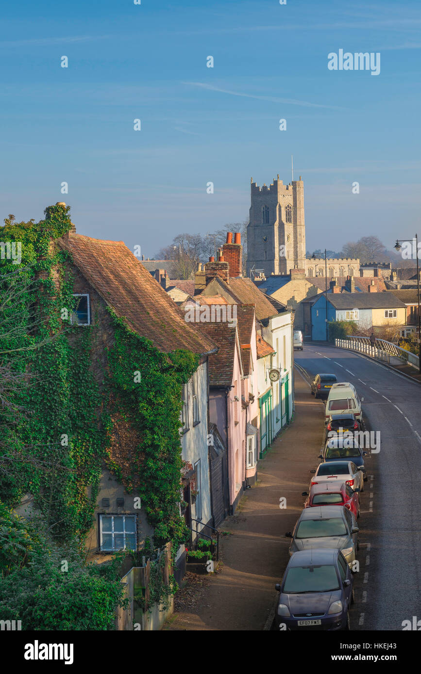 Sudbury Suffolk, a view of Ballingdon Road in Sudbury, Suffolk, with the tower of All Saints Church on the skyline, - Stock Image