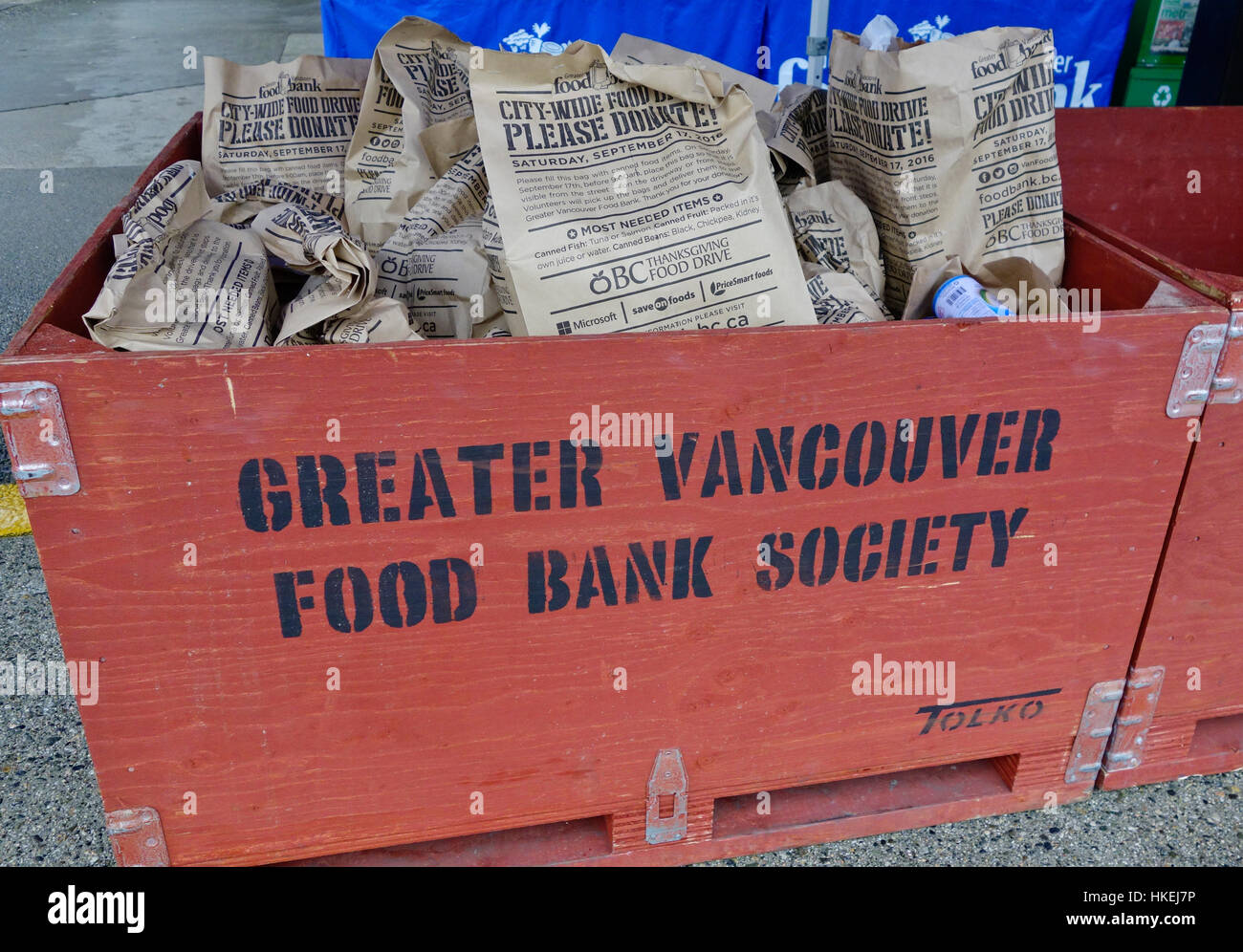Bags of food donations fo the Greater Vancouver Food Bank Society.  During one of their food drives in September - Stock Image