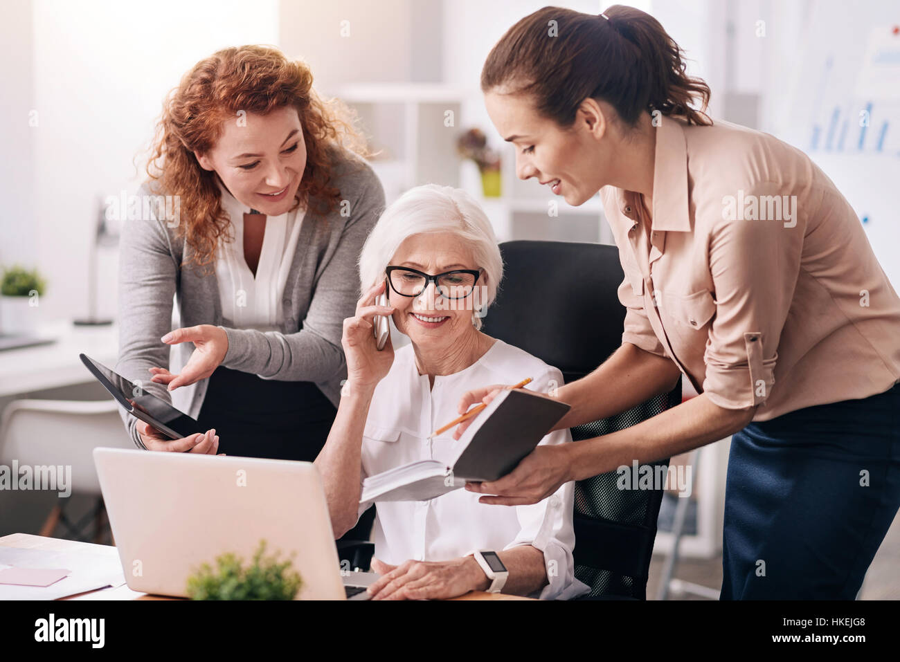 Charming aged boss working in the office - Stock Image