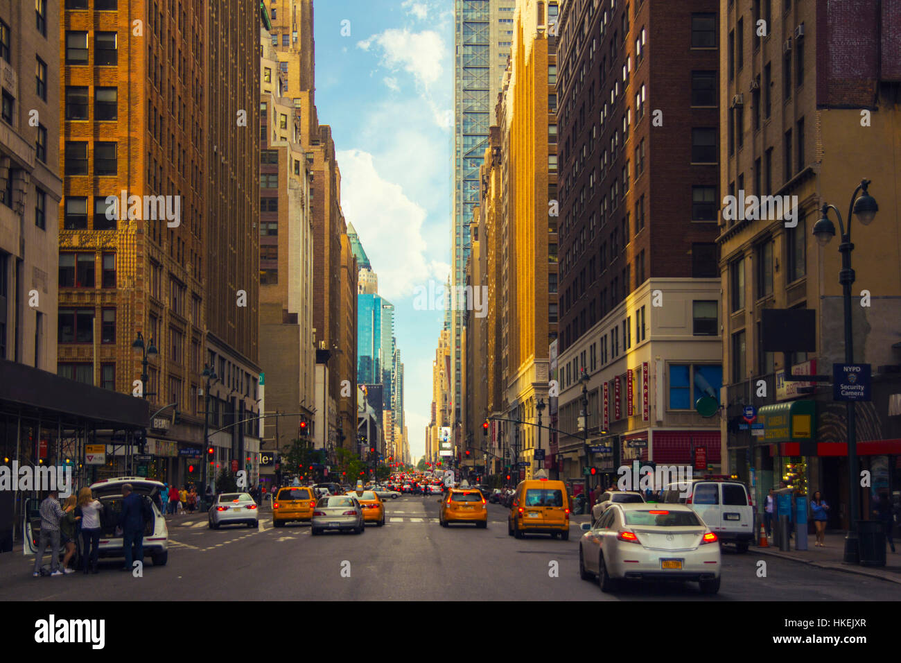 Colorful Vibrant New York Street Perspective View Stock Photo