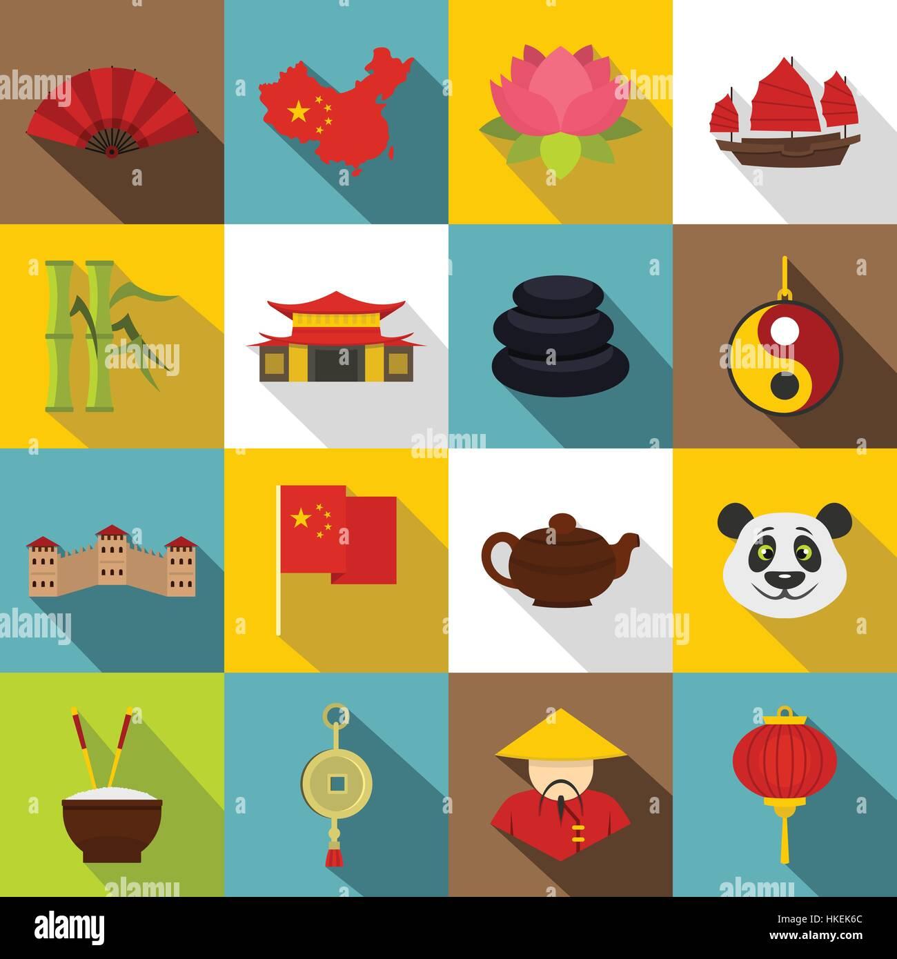 China Travel Symbols Icons Set Flat Illustration Of 16 China Travel