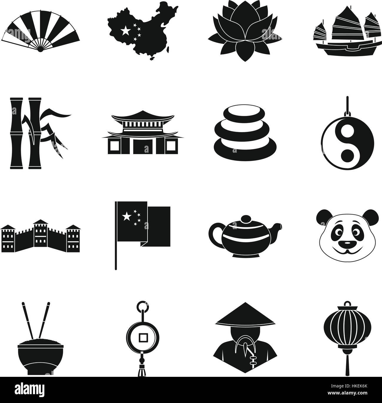 China Travel Symbols Icons Set Simple Illustration Of 16 China