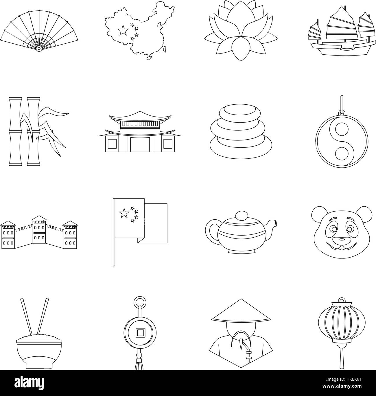 China Travel Symbols Icons Set Outline Illustration Of 16 China