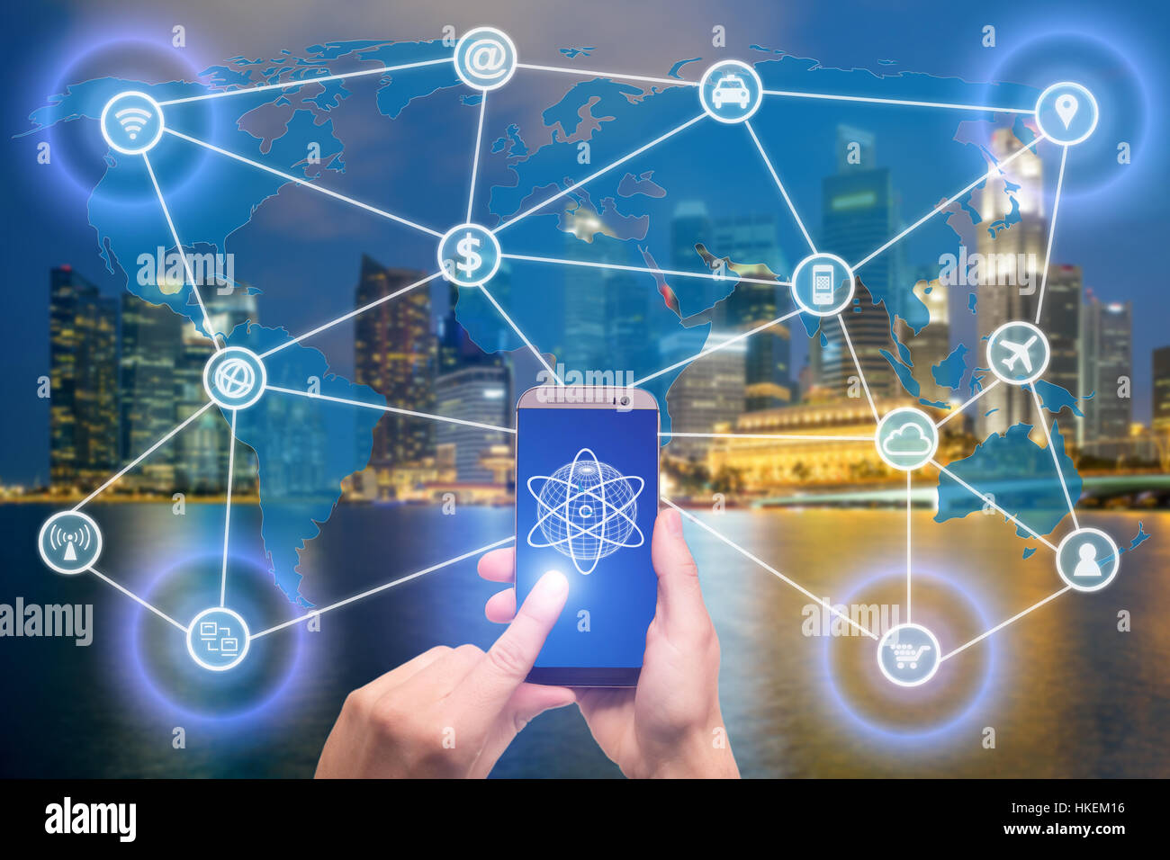 Network of connected mobile devices such as smart phone, tablet, thermostat or smart home. Internet of things and - Stock Image