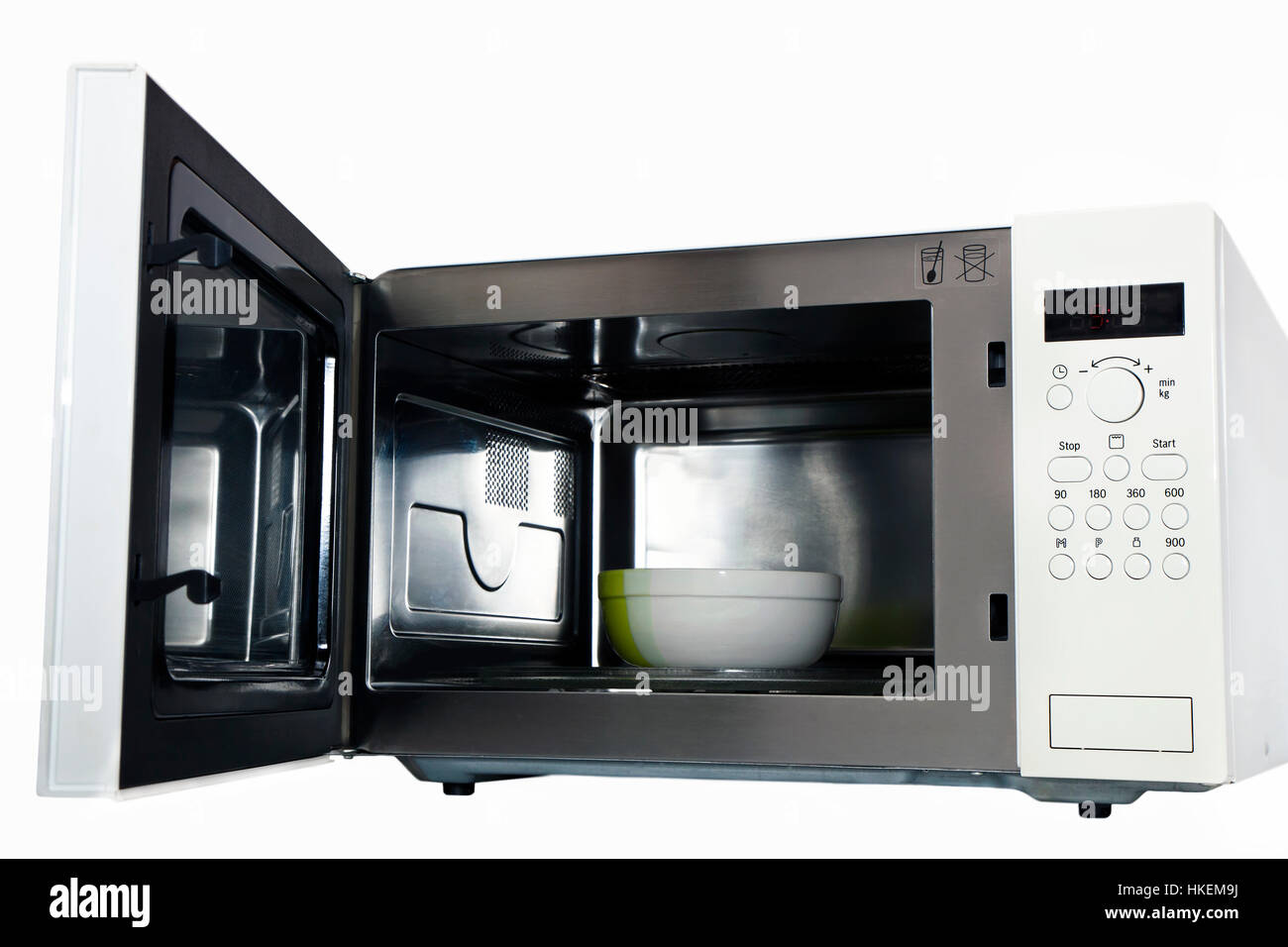 microwave oven with an open door Stock Photo