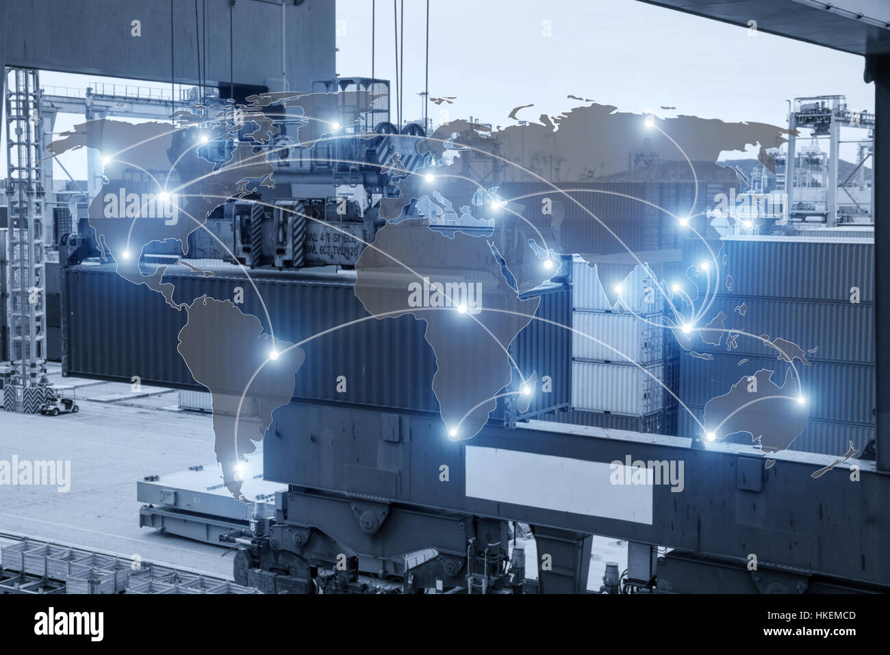 Map global logistics partnership connection of Container Cargo freight ship for Logistics Import Export background - Stock Image