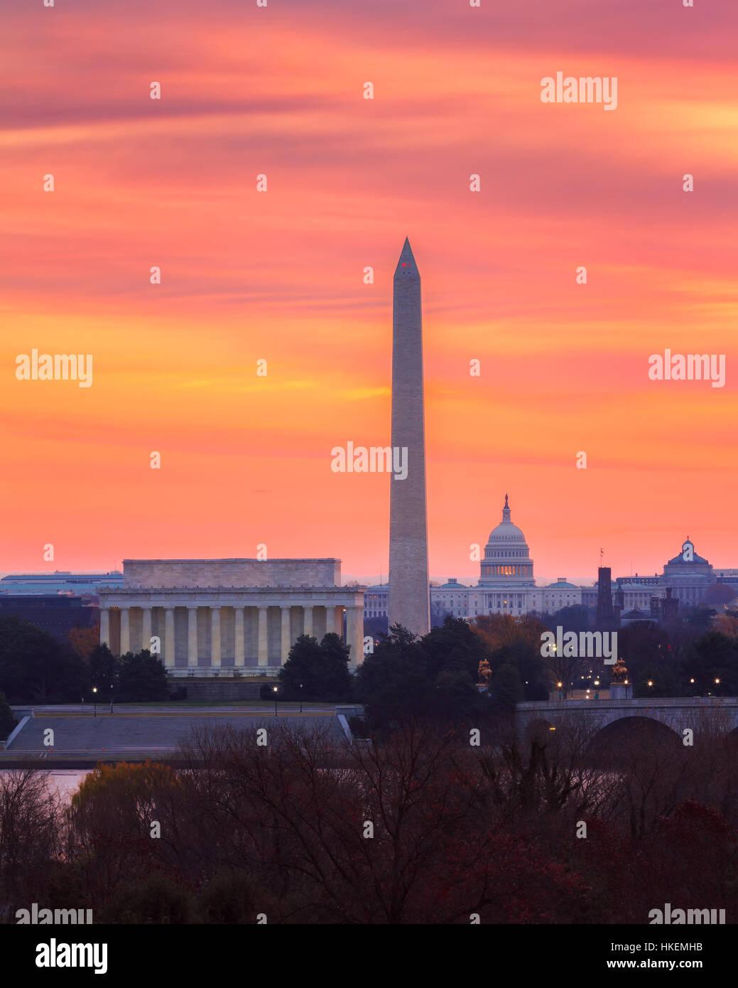 Sunrise over the Capital, Washington, DC - Stock Image