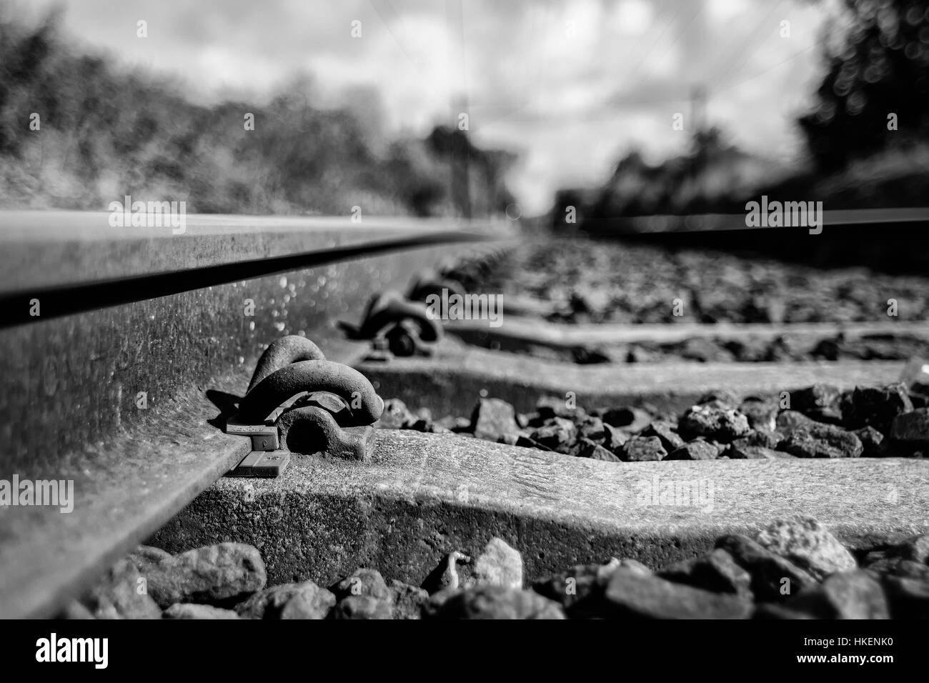 Tracks in Manningtree, England, leading to London. - Stock Image