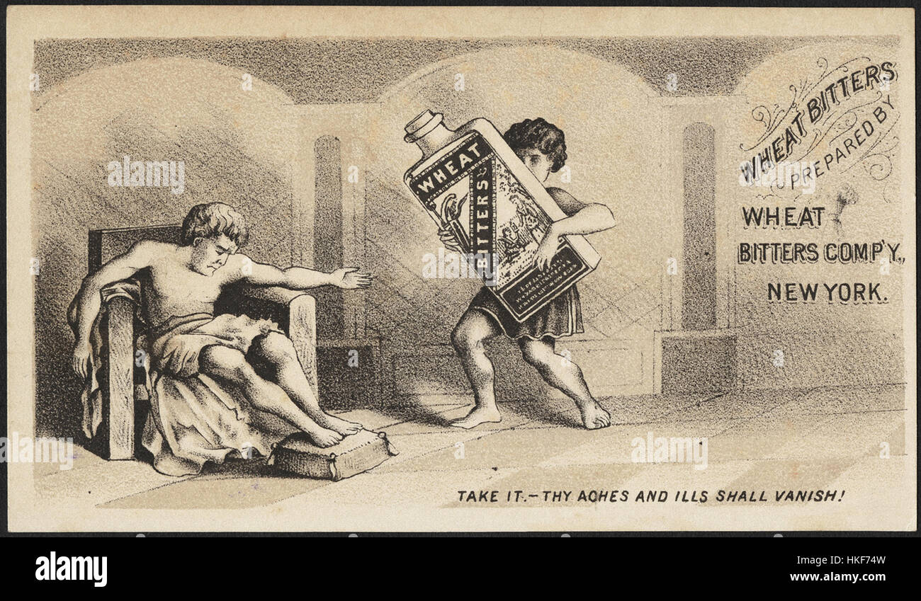 Wheat Bitters prepared by Wheat Bitters Comp'y, New York - Take it - thy aches and ills shall vanish! (front) - Stock Image