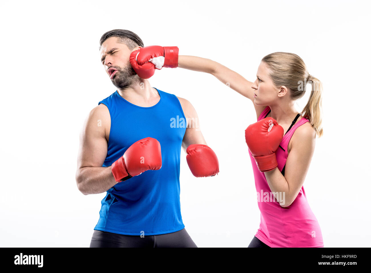 Man and woman boxing - Stock Image