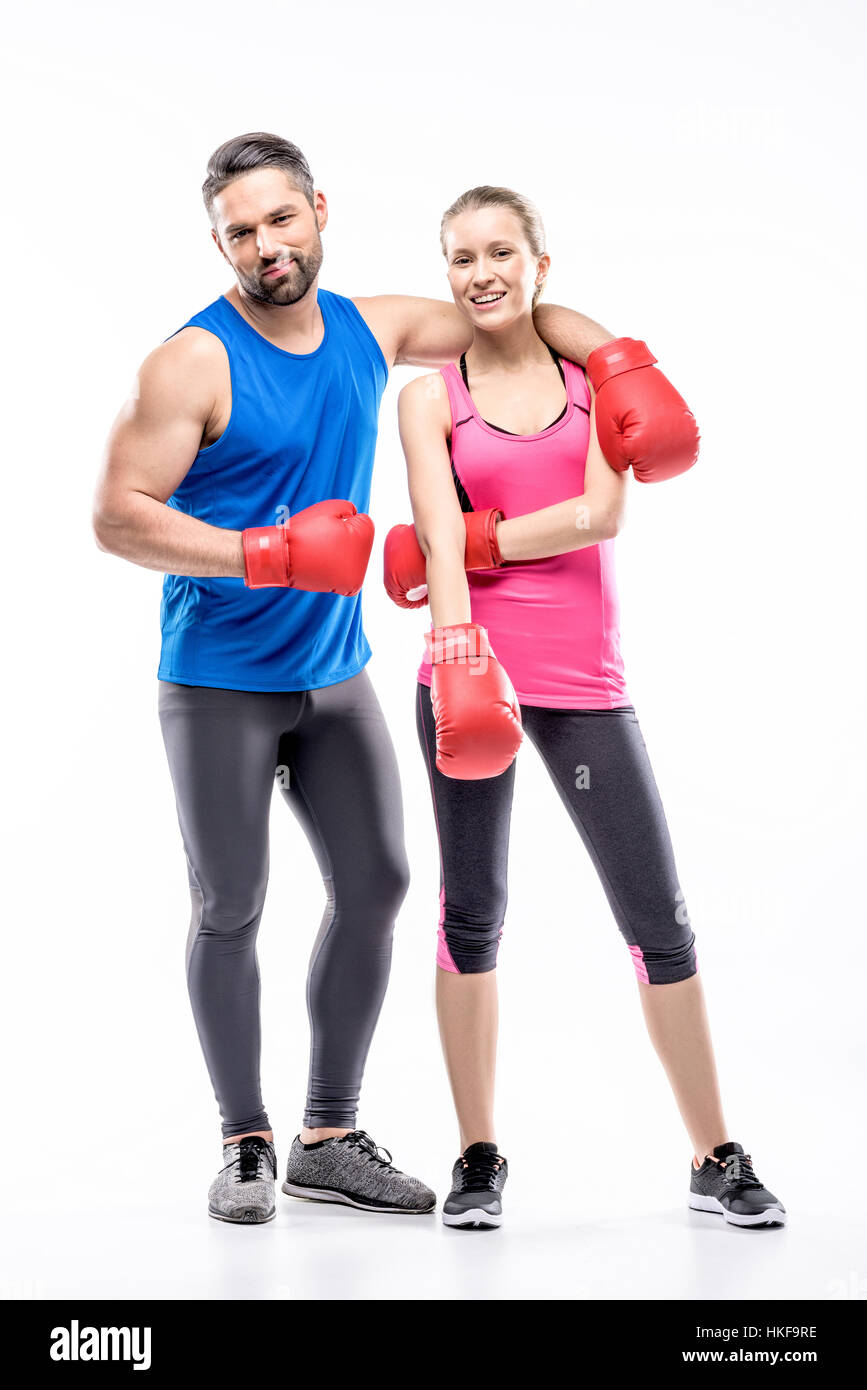 Man and woman in boxing gloves - Stock Image