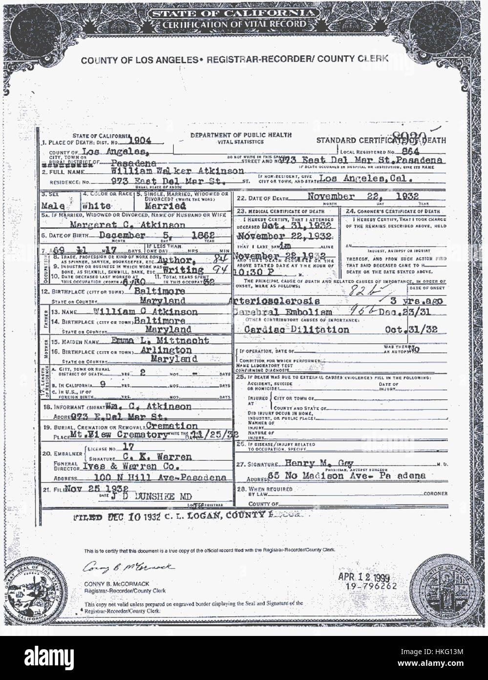 Death Certificate For William Walker Atkinson Stock Photo 132503160