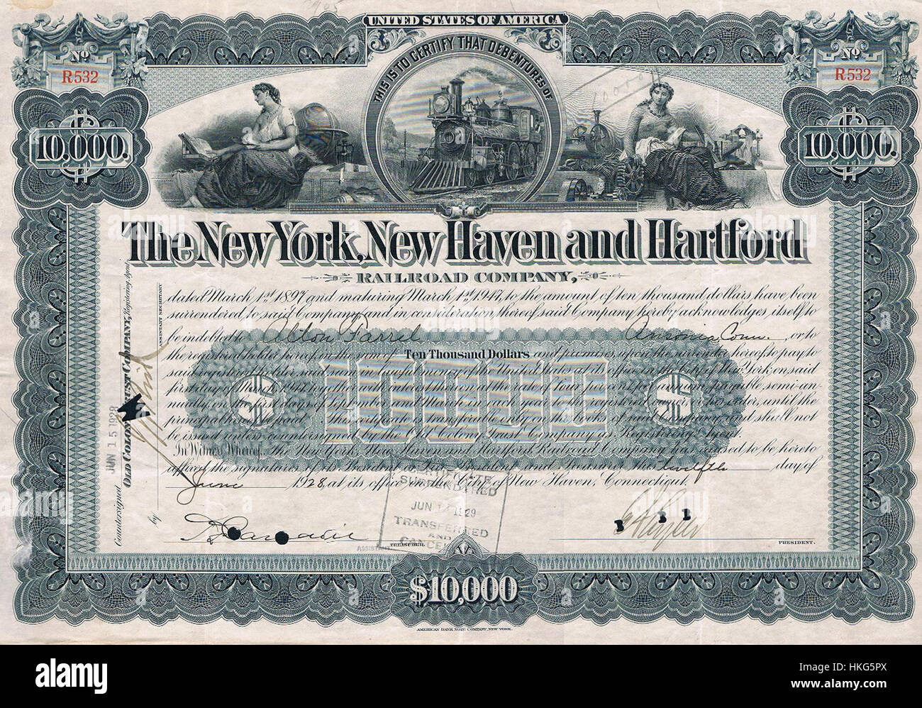 NYNH Stock certificate - Stock Image