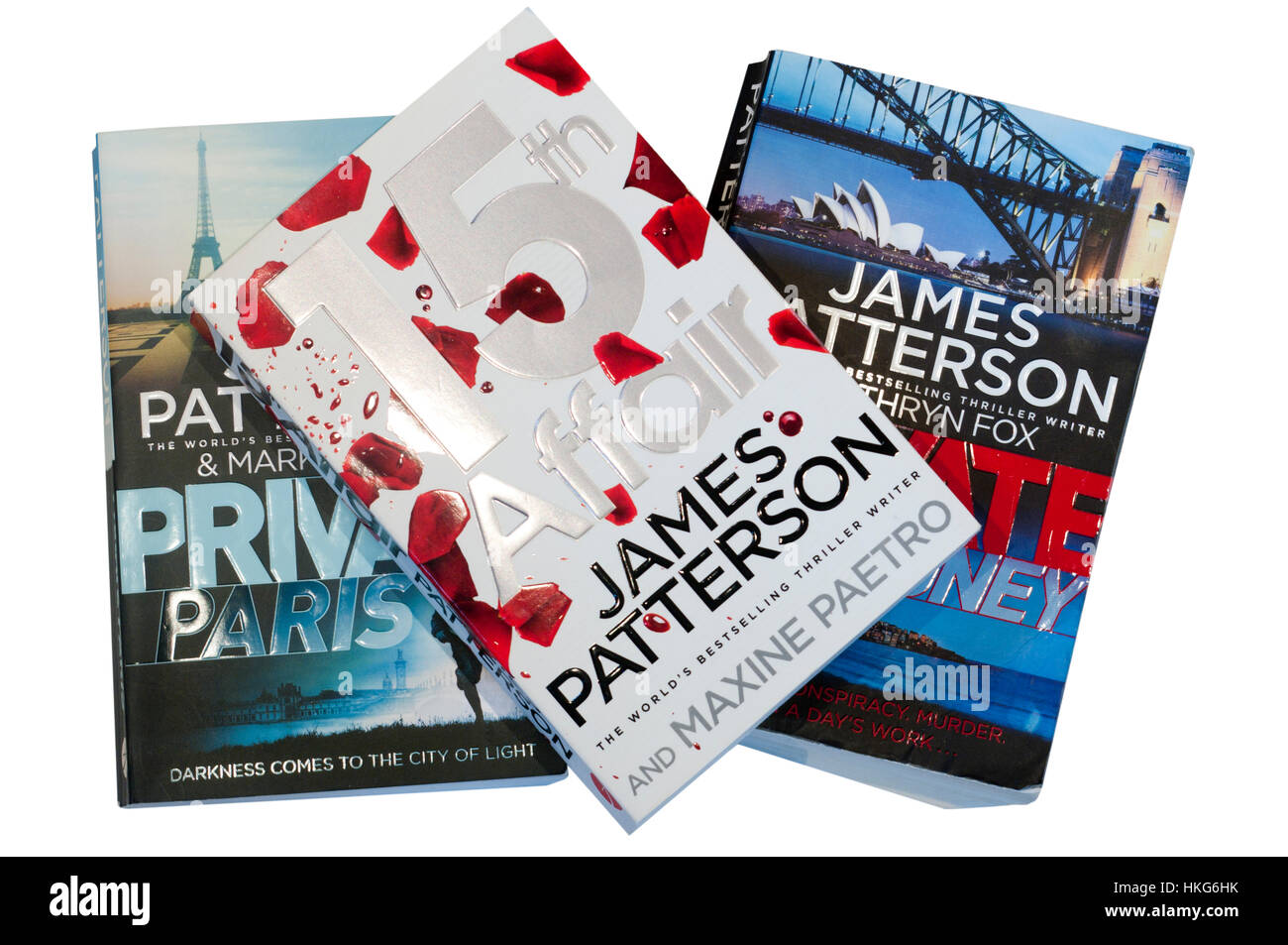 James Patterson Paperback Books Private Sydney Private Paris and 15th Affair - Stock Image