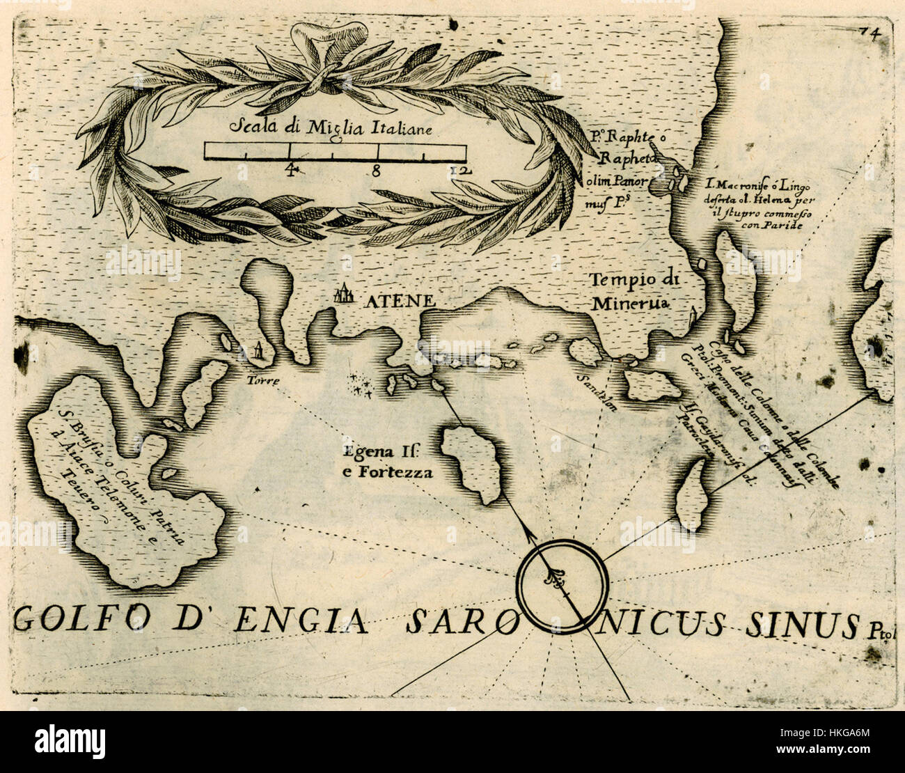 Map of the coast of Attica and the islands of the Argo Saronic gulf   Coronelli Vincenzo   1688 - Stock Image