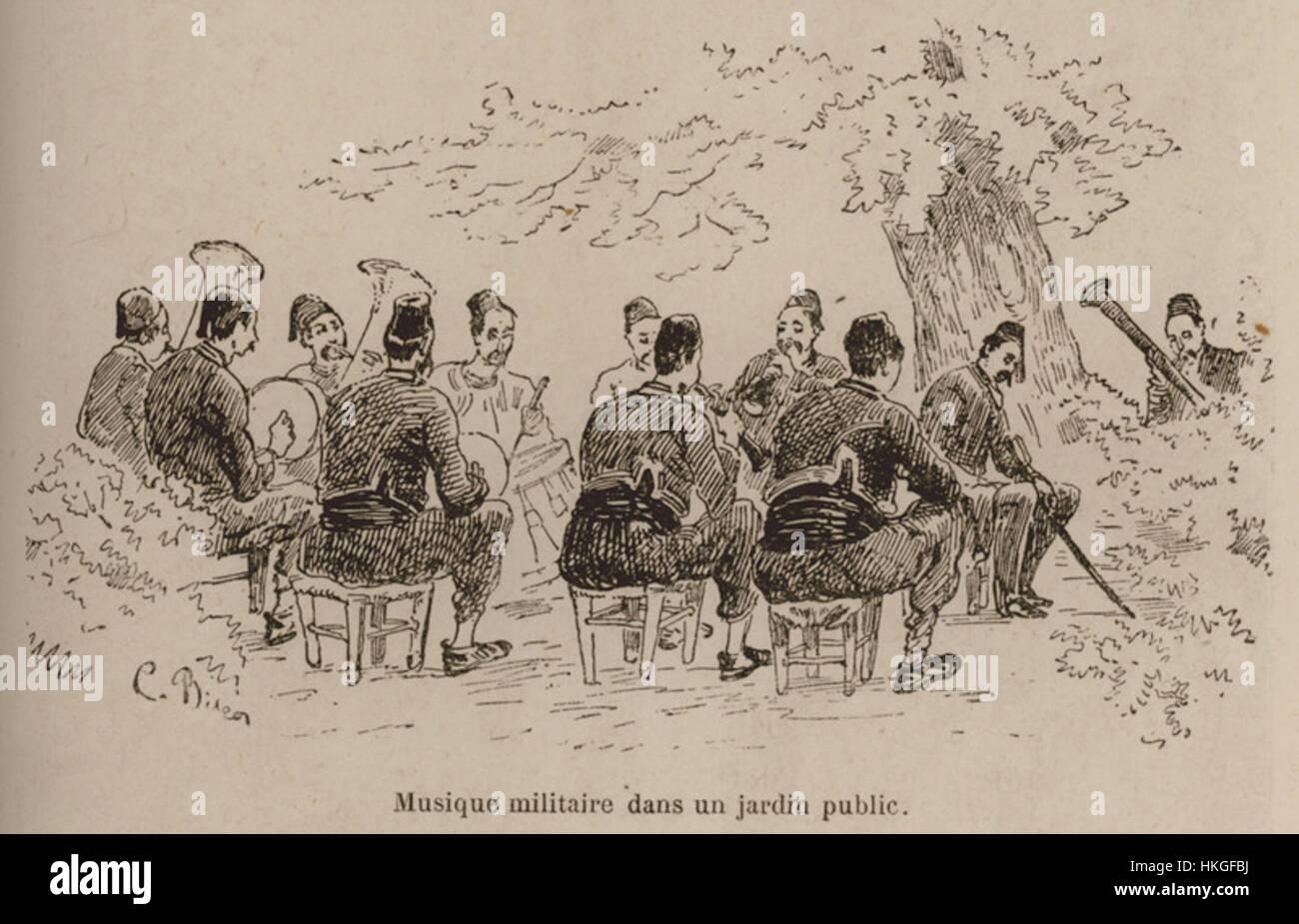 Musique militaire dans un jardin publique   De Amicis Edmondo   1883 - Stock Image