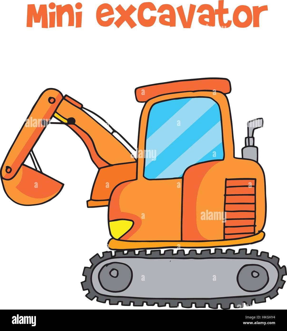 Hand Draw Mini Excavator Stock Photos & Hand Draw Mini