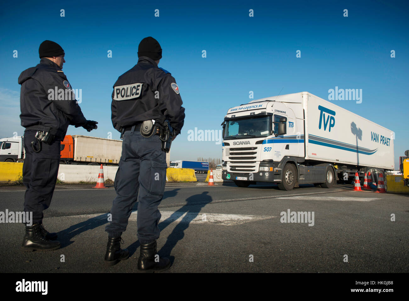 Roadside check by the French Border Police (PAF) along the highway A22 in Rekkem Stock Photo