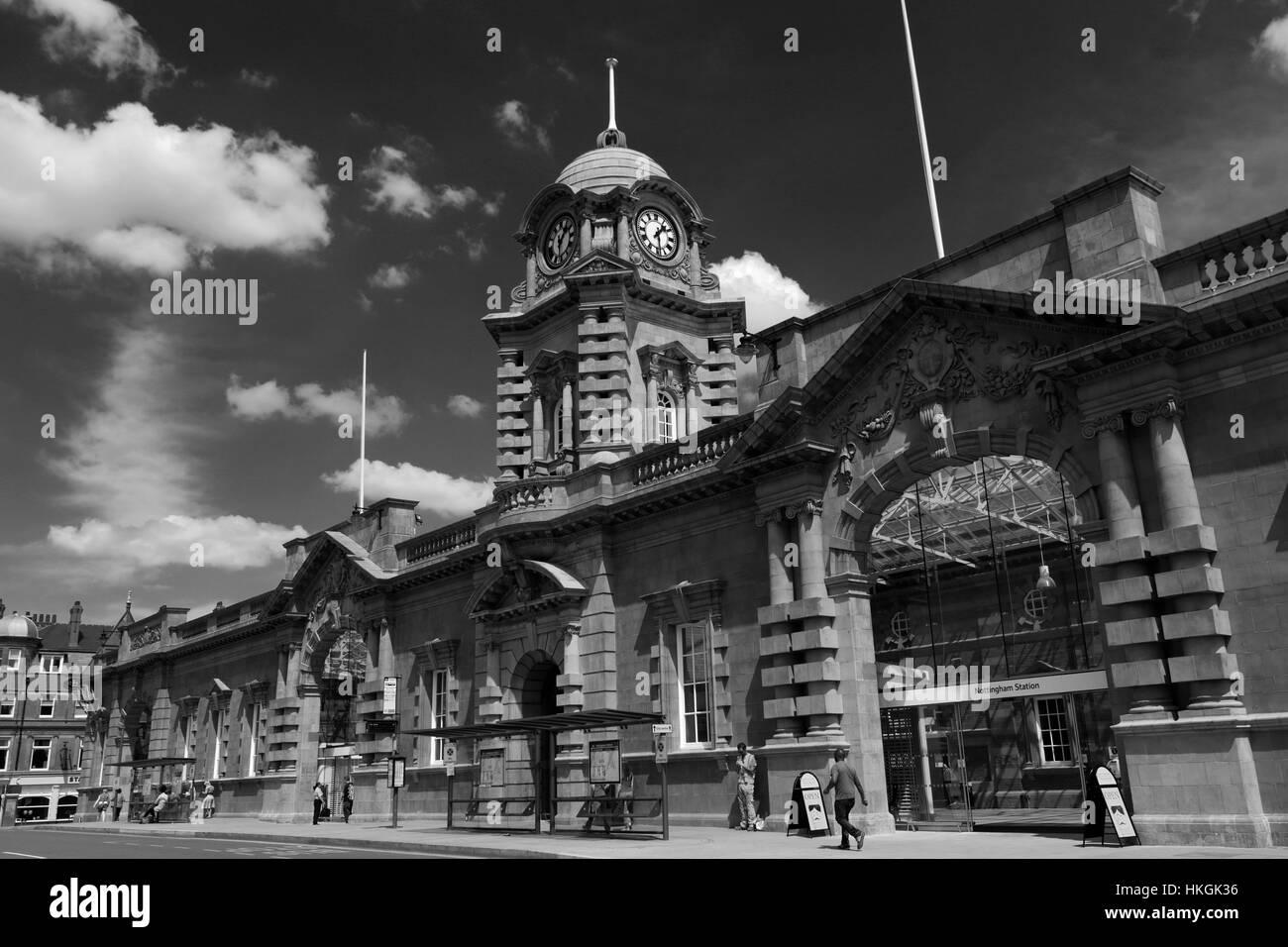 Frontage of Nottingham Railway station building; Nottingham city centre; Nottinghamshire; England; UK - Stock Image