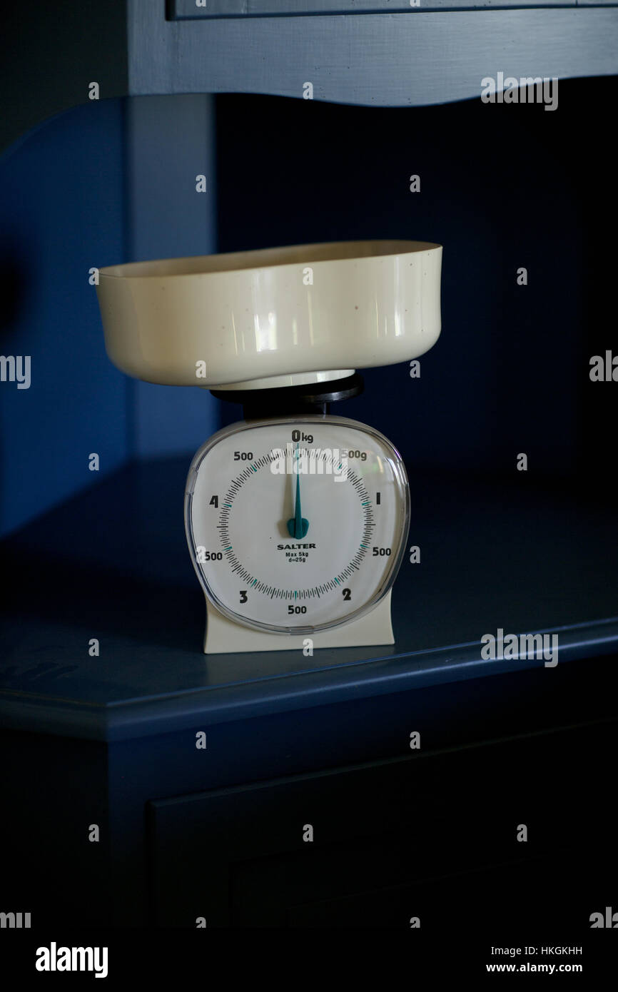 kitchen scale. weight, measure, domestic kitchen, kilogram. - Stock Image
