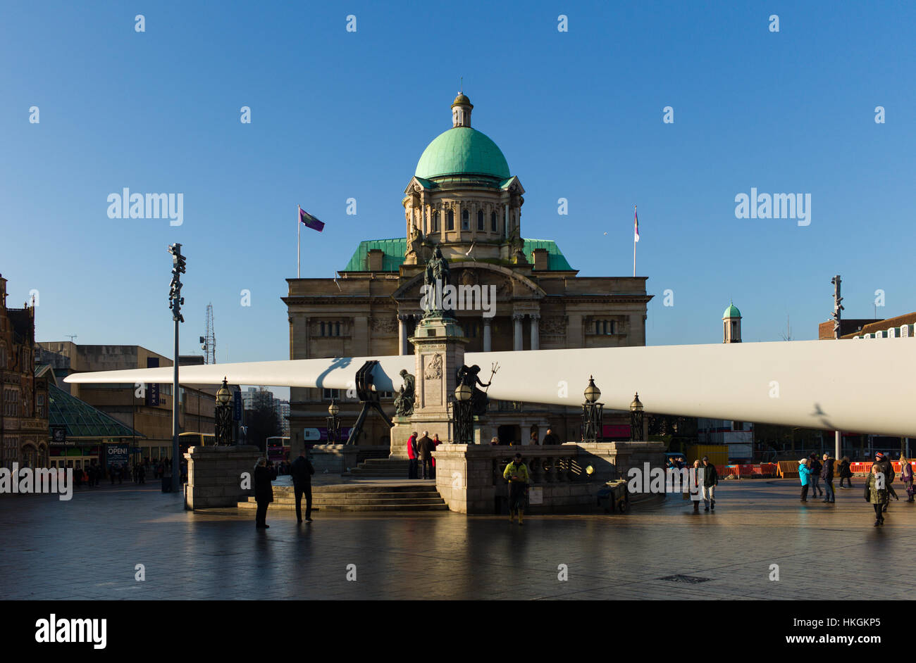 Hull City of Culture The blade  by nayan kulkarni in City Square, the sail of a windmill by Siemens - Stock Image