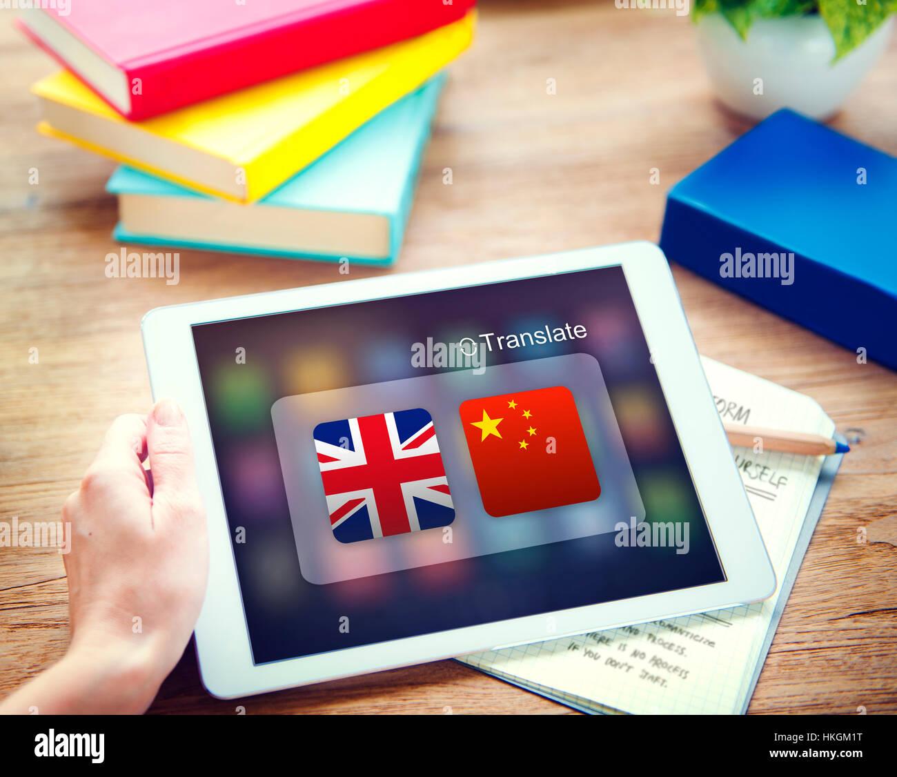 English Chinese Languages Translation Application Concept - Stock Image