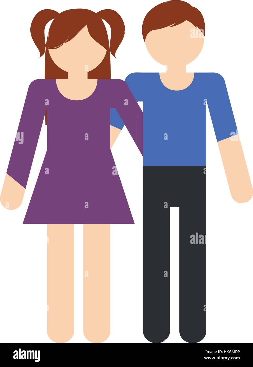 brother and sister family together vector illustration eps 10 - Stock Vector