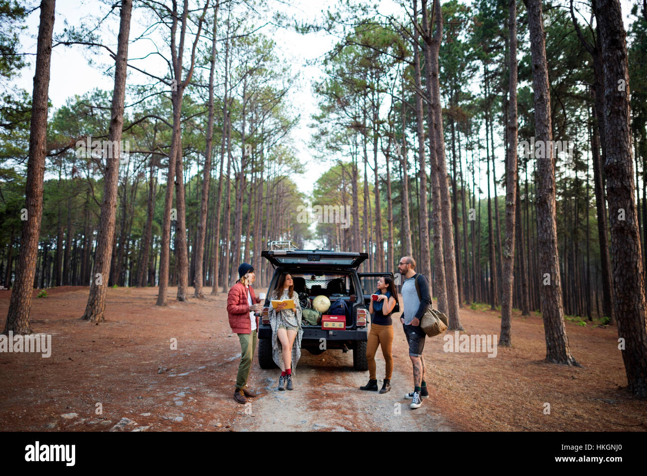 Friends Parked Car Forest Concept - Stock Image