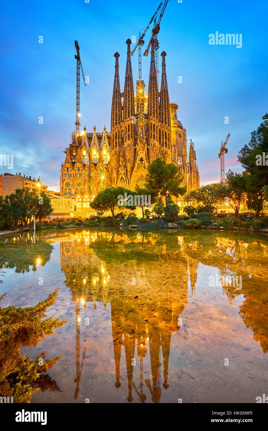Sagrada Familia Cathedral design by Antoni Gaudi, Barcelona, Catalonia, Spain - Stock Image