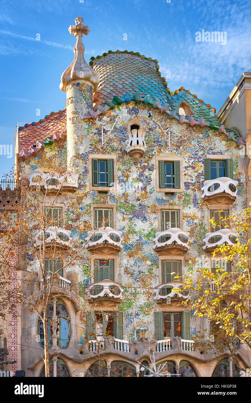 Casa Batllo house design by Antonio Gaudi, Barcelona, Spain - Stock Image