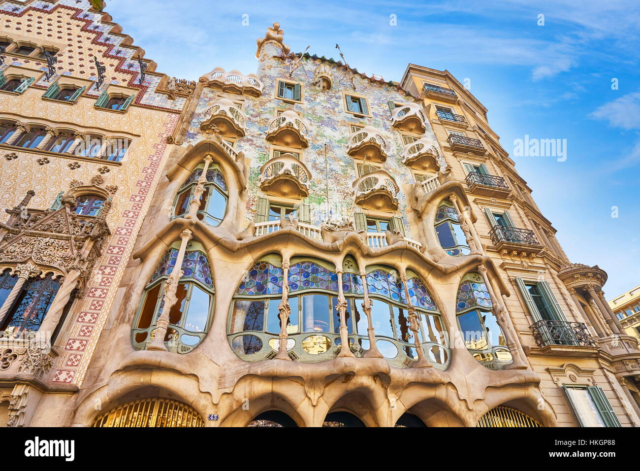Casa Batllo house design by Antonio Gaudi, Barcelona, Catalonia, Spain - Stock Image