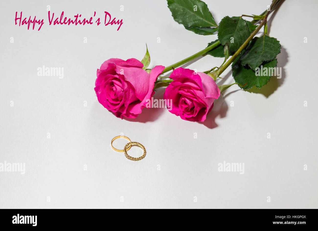 Happy Valentines Day Message With Bright Pink Roses And Gold Stock