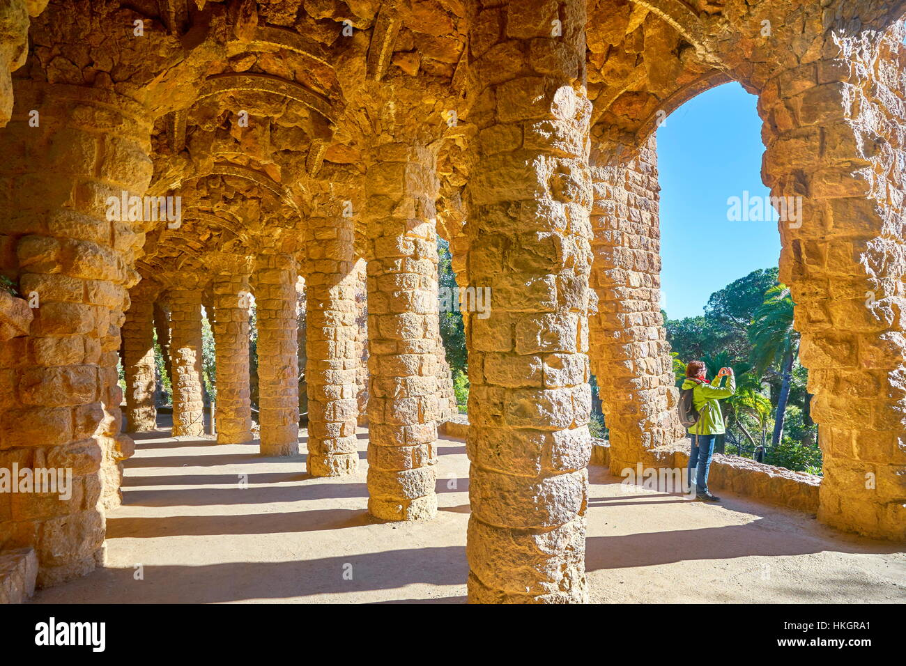 Park Guell by Antoni Gaudi, Barcelona, Spain - Stock Image