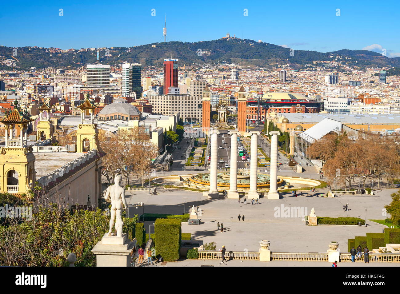 Placa De Espanya, Square of Spain, Barcelona, Catalonia, Spain - Stock Image