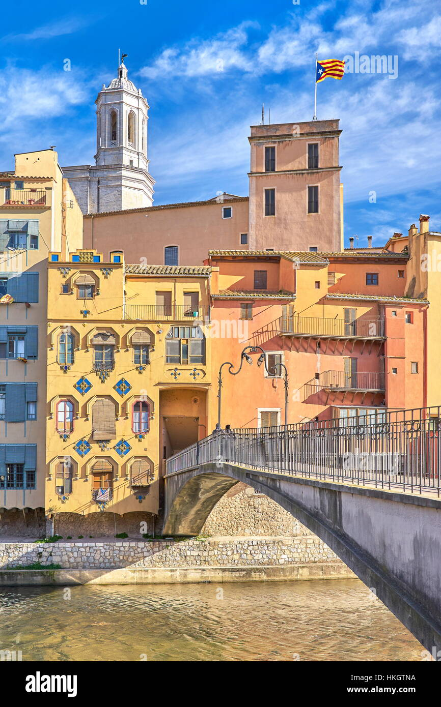 Girona colorful houses, Catalonia, Spain - Stock Image