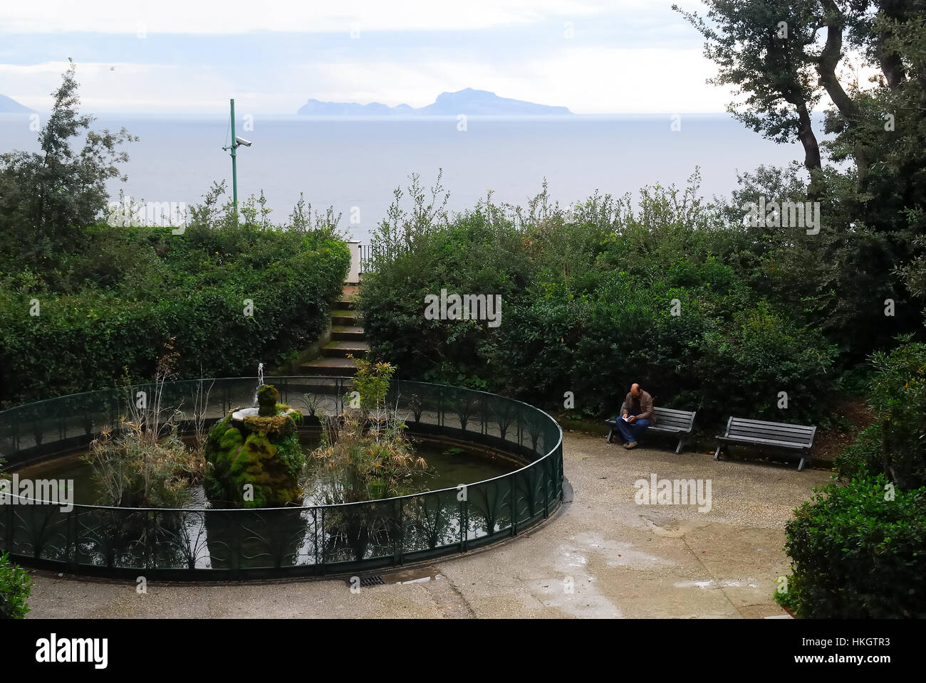 Naples, Campania, Italy. The Villa Floridiana is a large park in the Vomero quarter. The gardens rear of the villa - Stock Image