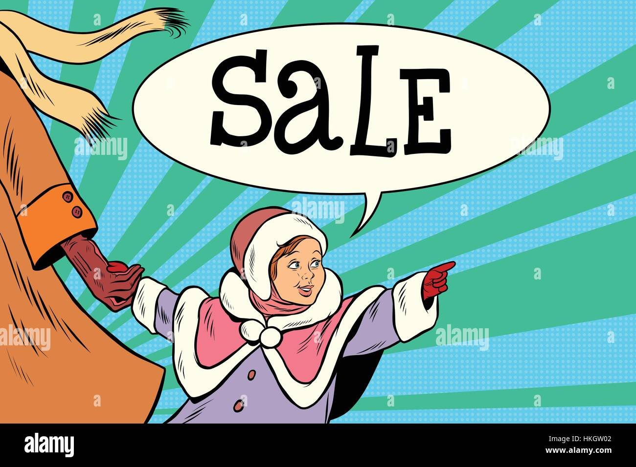 Little girl vintage saw the sale - Stock Vector