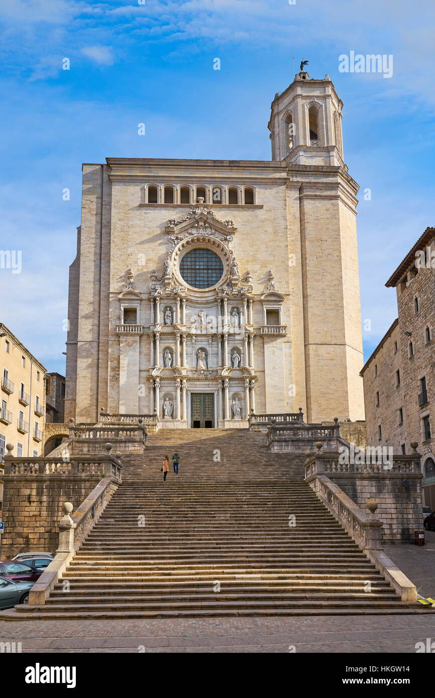 Girona cathedral, Catalonia, Spain Stock Photo